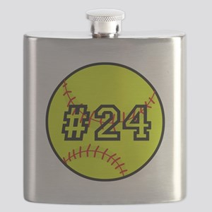 Softball with Custom Player Number Flask